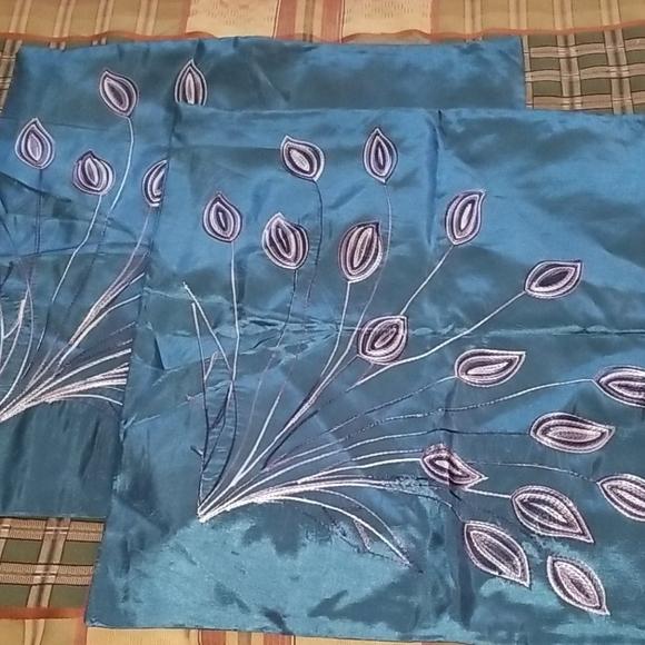 NWOT Satin Pillow Covers Teal Peacock